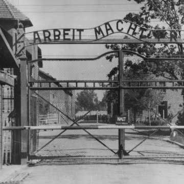 Image: The main gate of the Nazi concentration camp Auschwitz I in Poland