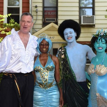 Image: The first family, in costume for the Mermaid Parade, posing in a photograph released by the New York City mayor's office