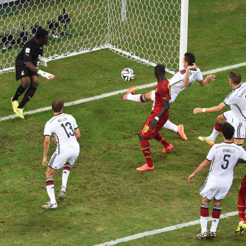 Image: Miroslav Klose of Germany scores his team's second goal past Fatawu Dauda of Ghana during the 2014 FIFA World Cup Brazil Group G match between Germany and Ghana