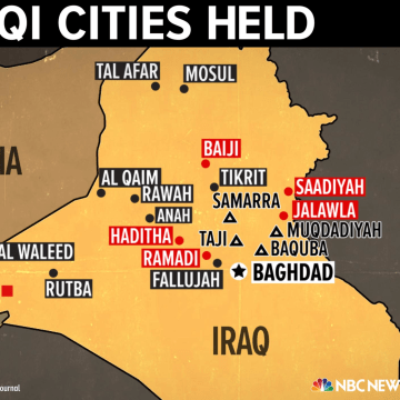 Image: An infographic shows which cities are held by ISIS militants