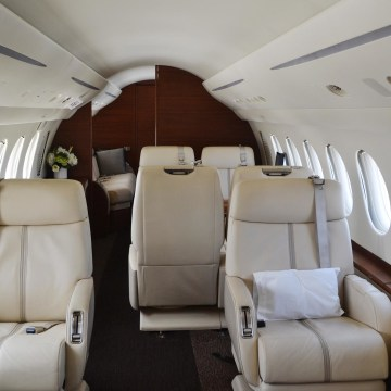 Image: Interior of a Falcon X7, worth about $55 million, one of the many private jets now seen at the newly refurbished Opa-Locka Executive Airport in Opa-Locka, Florida.