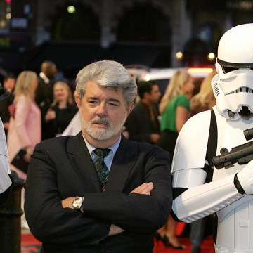 Image: Director/Producer George Lucas leaves the UK Premiere of 'Star Wars: Episode III Revenge of the Sith' at Leicester Square in London
