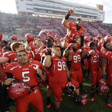 Image: Utah players celebrate after game against Colorado on Nov. 30