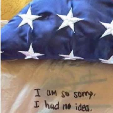 Image; An American flag that flew over the World Trade Center ruins and was given to the sister of a fallen firefighter has been returned after it was stolen last week.