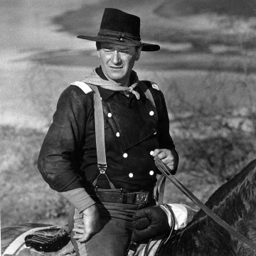 "Image: John Wayne is seen during the filming of  ""The Horse Soldiers."""