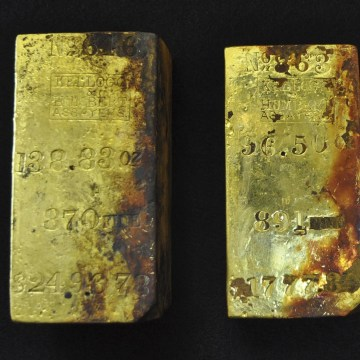 Image: Gold bars recovered during Odyssey's first reconnaissance dive to the SS Central America shipwreck site off the coast of South Carolina