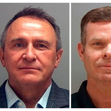 Image: A combination photo shows Utah's former attorneys general Mark Shurtleff and John Swallow in police booking photos in Salt Lake City