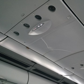 Image: Damage to the interior of a plane after it hit turbulence.