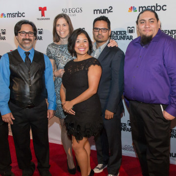 From left, Cristian Arcega, teacher Fredi Lajvardi, in back, filmmaker Mary Mazzio, in foreground, Dulce Matuz, film narrator and actor Michael Peña, Luis Aranda and Lorenzo Santillan.