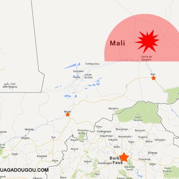 Image: A map posted on the website of Ouagadougou Airport showing the area where an Air Algerie flight went missing.