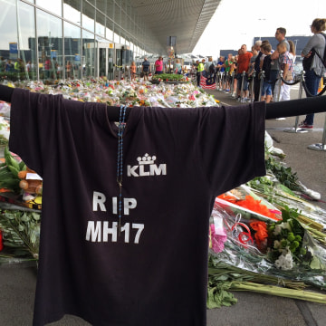 Memorials to the victims of the MH17 plane crash at Schiphol Airport near Amsterdam, the Netherlands.