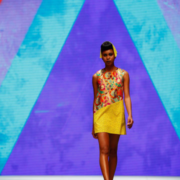 Image: A model presents a creation from South African designer Anisa Mpungwe for the label Loin Cloth & Ashes during the Mercedes-Benz Cape Town Fashion Week
