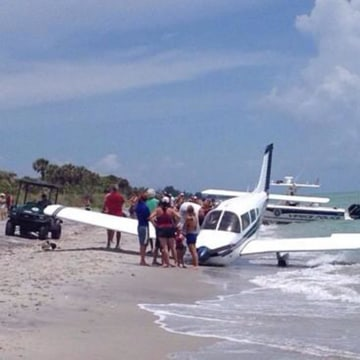 Image: A plane crash-landed on Caspersen Beach in Venice, Fla., on Sunday.