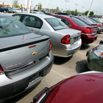 Image: Chevrolet Impalas are parked at a dealership in 2006.