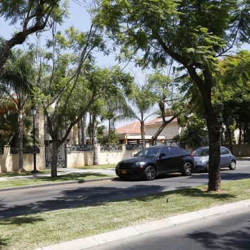 Trees lines the street of the upscale Savion neighborhood of Tel Aviv, just three miles from Ben Gurion airport.