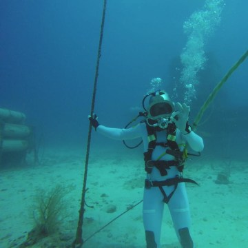 Image: European Space Agency astronaut Thomas Pesquet does a simulated spacewalk underwater off Florida coast