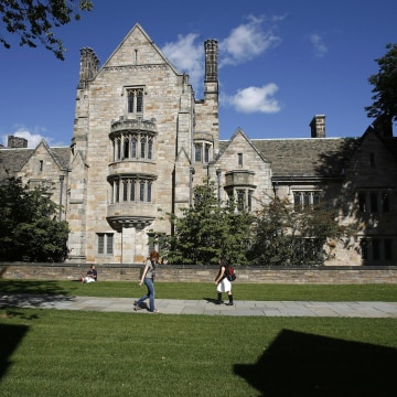 Image: Students walk on the campus of Yale University in New Haven, Connecticut