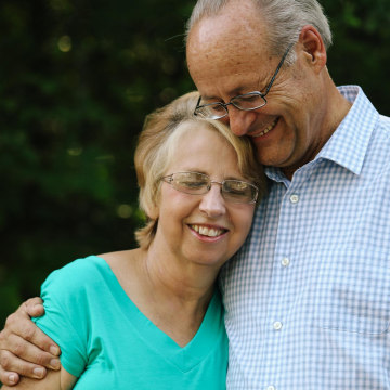 Image: SIM missionary Nancy Writebol stands with her husband David, in an undisclosed location on Aug. 20.