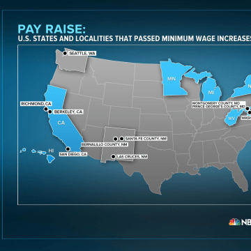 Image: U.S. states and localities that passed minimum wage increases in 2013-14