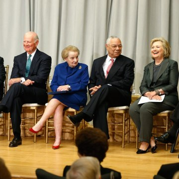 Image: Kerry is joined by Kissinger, Baker, Albright, Powell and Clinton for a ceremony before breaking ground on the U.S. Diplomacy Center museum at the State Department in Washington