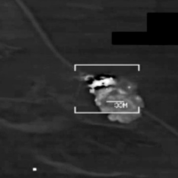 Image: A US military F/A-18 Hornet fighter jet strike on what the U.S. Army says is an ISIS target at an undisclosed location in northern Iraq.