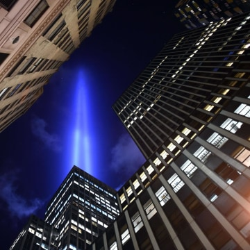 Image: The Tribute in Light illuminates the sky