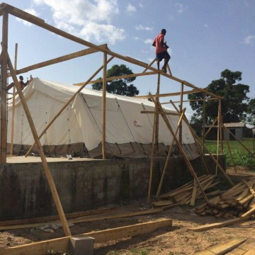 Image: A hospital under construction in Kenema, Sierra leone, has a tented area to provide emergency treatment for Ebola patients.