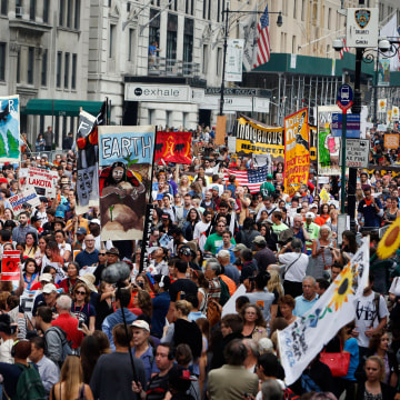 Image: Demonstrators fill Central Park South during the People's Climate March