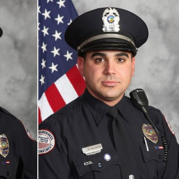 Image:Left: Beavercreek Police Officer Sean C. Williams; Right: Beavercreek Police Sgt. David M. Darkow