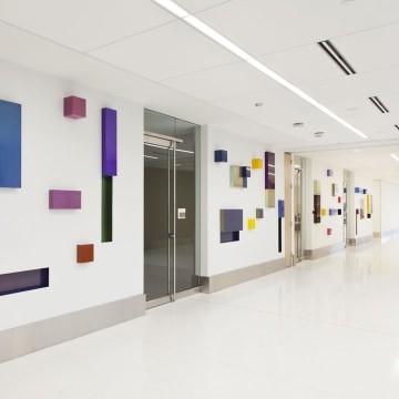 "Image: Margo Sawyer's ""Synchronicity of Color"" is installed in an Indianapolis hospital."