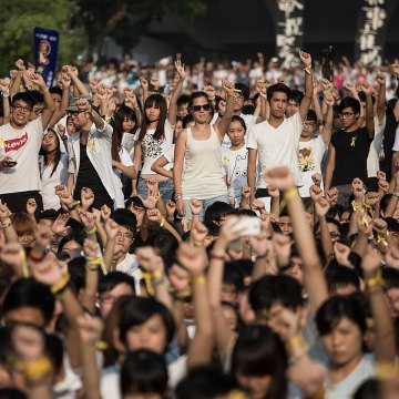 Image:  Students at a rally in Hong Kong on Monday