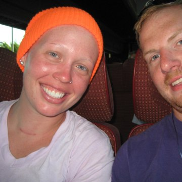 Jordan Swarthout, 21, left, pictured during her chemotherapy treatment.