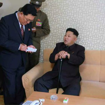 Image: North Korean leader Kim Jong Un during an inspection tour of a newly-built housing complex in Pyongyang