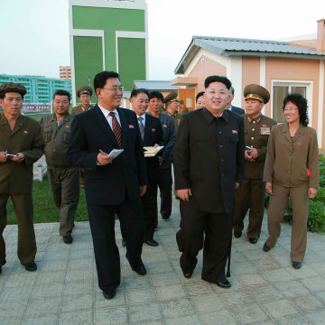 Image: North Korean leader Kim Jong Un gives field guidance at the newly built Wisong Scientists Residential District  in this undated photo released by KCNA