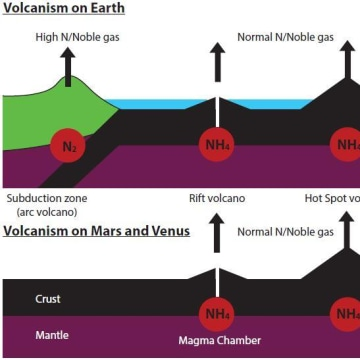 Image: Volcanism on earth compared to Mars and Venus