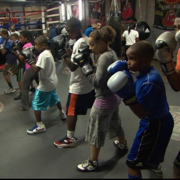 Kids practice their punches at the Downtown Youth Boxing Gym