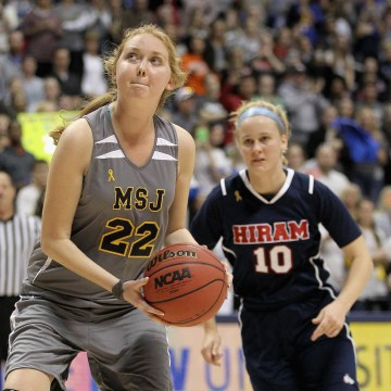 Image: Lauren Hill of Mount St. Joseph shoots to score her second basket during the game against Hiram at Cintas Center on Nov. 2