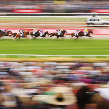 Image: The field goes along the straight in the Visit Victoria Plate on Melbourne Cup Day