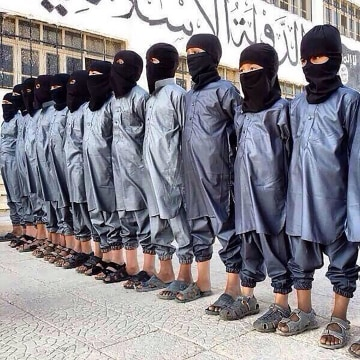 Child soldiers in the early stages of training with ISIS.