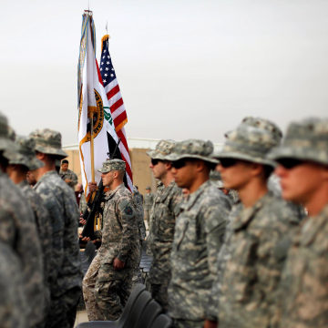 Image: U.S. Military Holds Flag Casing Ceremony In Baghdad