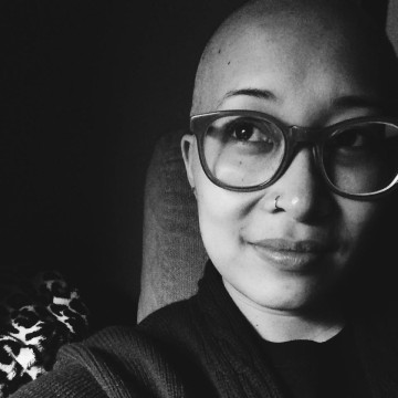 """Jackie's selfie of her newly-shaved bald head, for her October 2014 blogpost """"Fortune Favors the Bald!"""""""