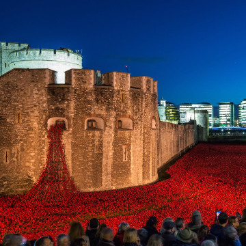 Image: Visitors view the 'Blood Swept Lands and Seas of Red' installation at the Tower of London