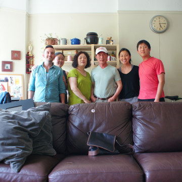 Family photo of Mike, Yuri, Yuri's parents, Yuri's sister-in-law Sandy, and Yuri's brother Alan.