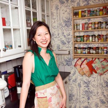 The writer, Cheryl Lu-Lien Tien, in her kitchen.