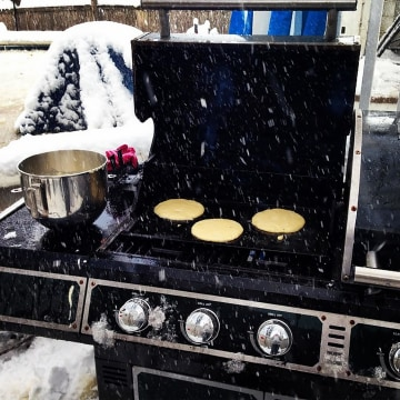 Christina Keane enjoyed grilled pancakes for breakfast on Thursday despite the snow in New Hampshire.