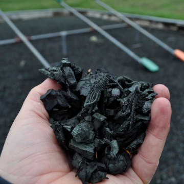 Image: Rubber mulch from the playground in Bandon City Park in Bandon, Oregon.