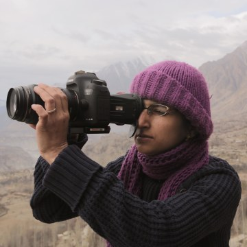 "Director Afia Nathaniel on location in Pakistan for her film, ""Dukhtar."""
