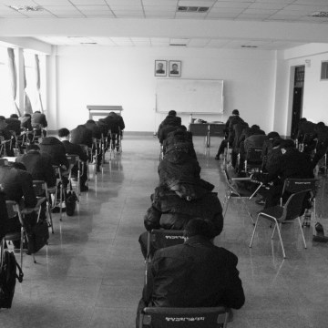 Students at Pyongyang's PUST taking their final exam in December 2011.