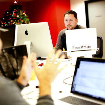 Image: Greg Martin, the Chief Technical Officer for ThreatStream, works at their offices in Redwood City, Calif.