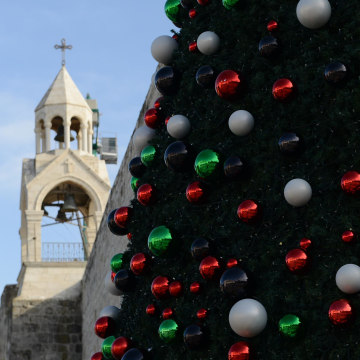A Christmas tree in the West Bank town of Bethlehem decorated with baubles in the colors of the Palestinian flag.